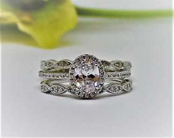 Simulated Diamond Ring 1.28ct Wedding Set, Rhodium coated, Oval Halo Infinity 3 pcs set, with pave band and 2 infinity pave bands,ARIA