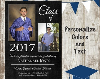 Printed Photo Graduation Announcement/Invitation, 5x7, premium 110lb card stock, top quality and still affordable!