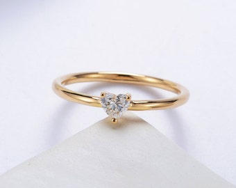 Delicate Heart shaped diamond engagement ring in 18k Yellow Gold, Diamond Engagement Ring, Anniversary Ring