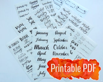 2017 Planner / Bullet Journal Printable Planning (7) PDF Kit - Hand Lettered Black Ink Calligraphy Printable Sticker Package