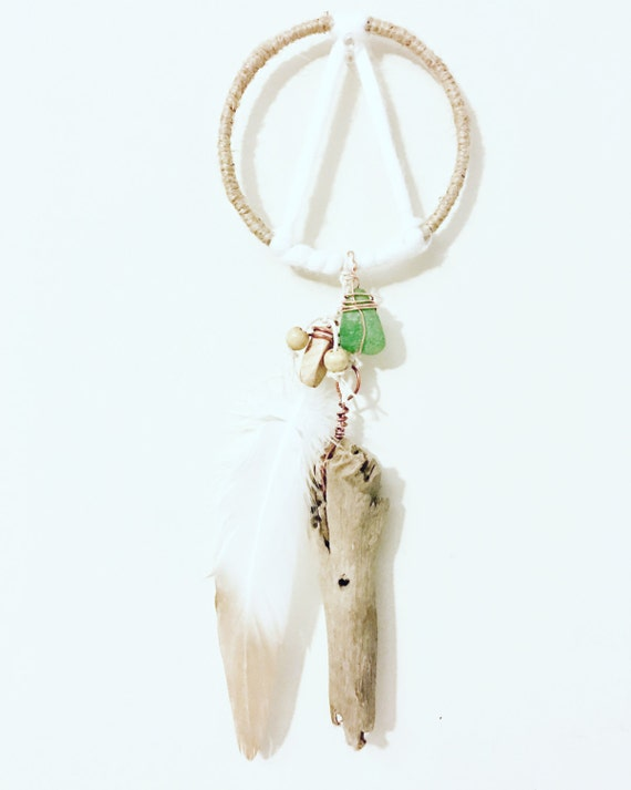 Emerald sea glass dream catcher