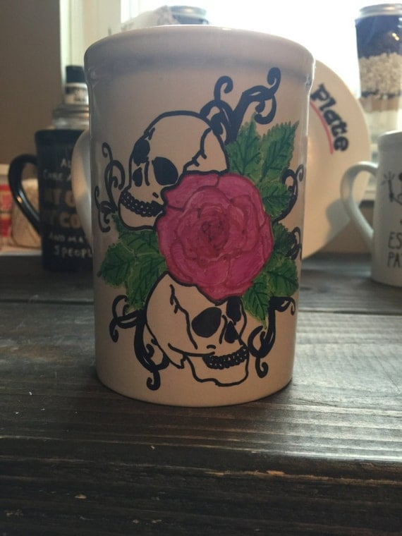 Hand Painted Mug, Skull Mug, Skulls and Roses, Hand Painted, Custom, Personalized, Coffee Lover Gift, New Home Gift, Gifts for anyone, Gifts