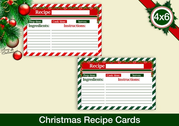 items similar to christmas recipe cards 4x6 recipe cards printable recipe card template. Black Bedroom Furniture Sets. Home Design Ideas