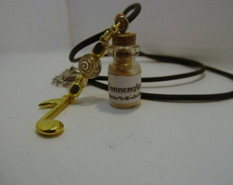 Glass vial on a leather strap, potion ingredients - sun shine