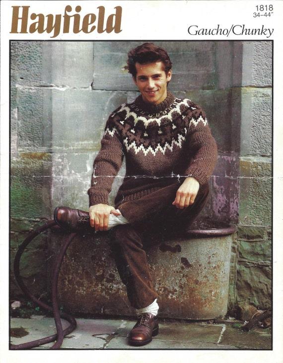 Mens Fairisle Jumper/Sweater Vintage Knitting Pattern