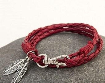 Womens leather bracelet, Red braided leather bracelet, Feather charm bracelet, Charming cute charm bracelet, Cheap jewelry, Nice bracelet