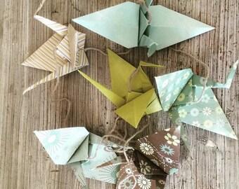 6 cranes degraded green wreath