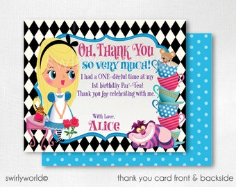 Alice in ONEderland Thank You Cards, Alice in Wonderland Thank You Notes, Alice in Onederland Invitation Set, Alice Tea Party, DI-579TY