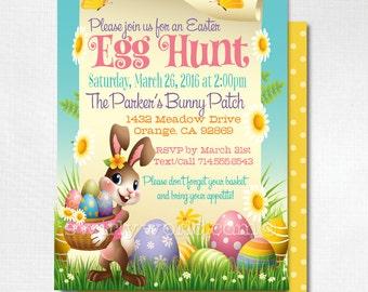 Easter Party Invitations, Egg Hunt Easter Invites, Easter Egg Hunt, Egg Hunt Party, Egg Hunt Invitation, Easter Party, Happy Easter, DI-7004