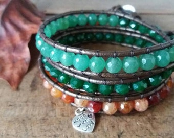 Heart bracelet with agate and Crystal and multi turn