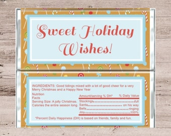 Holiday Wishes Candy Bar Wrapper-Holiday Wishes Chocolate Bar Wrapper-Chocolate Bar Wrapper-Candy Bar Wrapper-Personalized-Customized-Favor