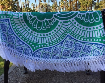 Mandala Tapestry - 6 feet round - Teal Flower Design perfect as a Wall Hanging, Beach Towel and Blanket, for Home Decor or Music Festivals