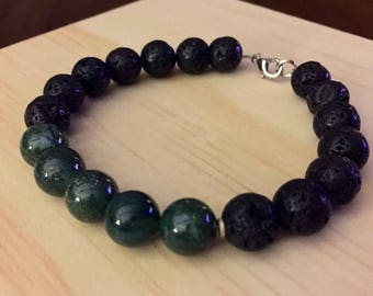 Mens lava and moss agate bracelet
