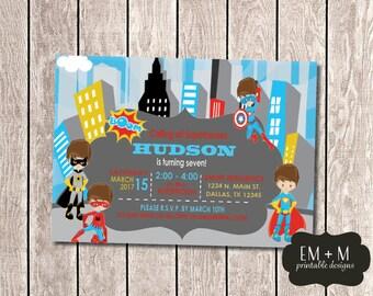 Superhero Party Invitation, Super Hero Birthday Party, Boy Birthday Party Invitation, Superhero Printable Invitation