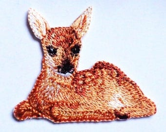 FAWN Iron On Embroidered Applique Patch