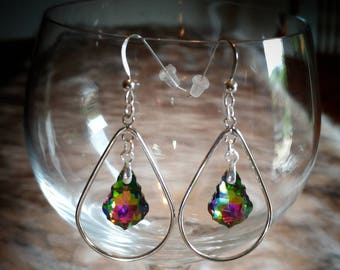 Swarovski Crystal Silver Hoop Earrings.