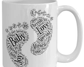 BABY FEET! Adorable Way to Announce a Pregnancy or Celebrate a Birth! 15 oz White Ceramic Coffee Cup / Tea Cup!