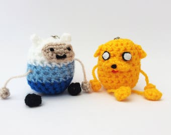 Knitted Amigurumi Jake the Dog and Finn the Human Keyring