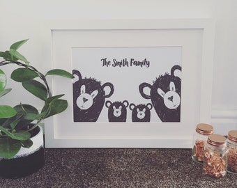 Bear family print, home decor, A4 print, customised with family name