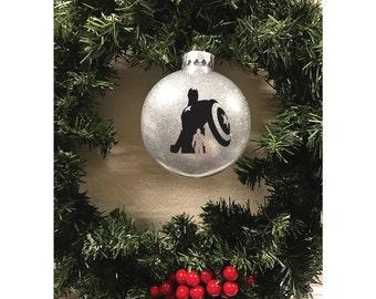 Captain America Inspired, Avengers Inspired Logo, Glitter Ornaments, Christmas Ornament, Vinyl Ornament, Avengers Inspired Christmas