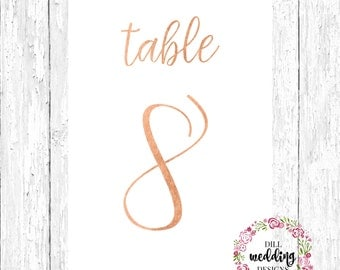 metallic table numbers // rose gold wedding table numbers // silver foil table numbers // gold table numbers // custom table numbers