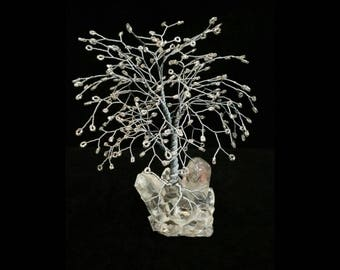 Wire Tree Handmade Beaded Bonsai Sculptures on Resin Base - Wills style