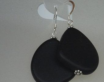 925 Sterling Silver, Seaglass Earrings