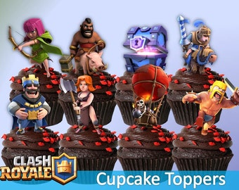 12 Clash Royale Cupcake Toppers, Printable, Clash Royale Party, 12 Designs Toppers, Children Party, Digital toppers