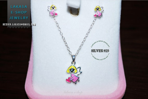 Girls set jewelry princess fairy tale angel heart enamel necklace earrings sterling silver jewelry gift best ideas birthday christmas