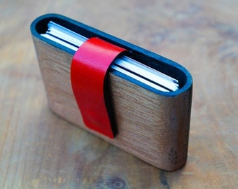 Solid wood and leather wallet