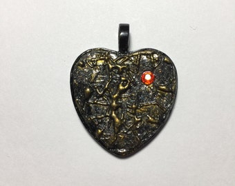 25mm Black Gold Heart with Jewel Pendant, Valentines, polymer clay.
