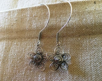 silver 925 Earrings  Studs  Flower   beautiful and genuine