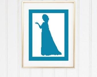 Elsa cross chart/princess cross stitch/princess cross chart/disney cross chart/elsa cross stitch/frozen cross chart/ #01-009