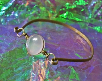 Beautiful hand made Real Rose Quartz Bracelet. Stainless Brass