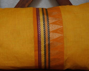 Rainbow sky 19 series: South India cover 30x50cm (12 x 20 inches) cushion, cotton lined with embroidered braid. Yellow-orange color.