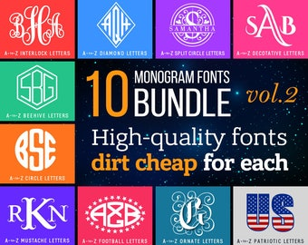 Monogram Fonts Svg Bundle N2 Initial Monograms Svg Cricut Fonts Svg Pack Download Script Svg Dxf Monograms Silhouette Monogram Alphabet Png