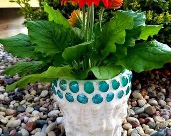 Ocean Breeze Mosaic Seashell Flower Pot