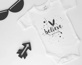 Believe in Yourself, 100% Organic Cotton, Short sleeve onesie, Bodysuit, Baby clothes, Organic baby clothes, Baby shower gift, Monochrome