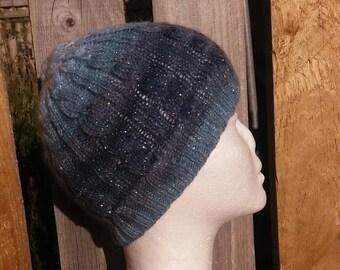 Handknit Cable Sparkle Hat