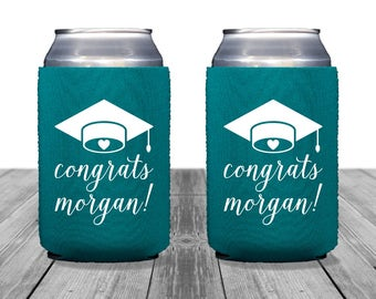 Graduation Can Coolers, Personalized Coolies, Bachelor Party, Neoprene, Tailgate, Beer Huggers, Graduation Coolies, Class of 2017, 1263