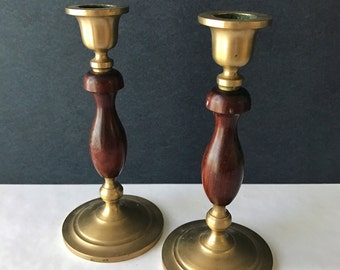 Pair of Wood and Brass Candlesticks - Set of 2 Candlestick Holders - Vintage Decor / Wedding Decor