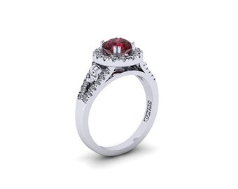 Secret Skull Engagement Ring STERLING SILVER with Lab created Ruby swarovski