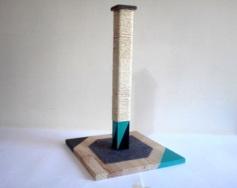 NEW COLORS - Modern Cat Scratching Post. Wood Cat Scratcher with Sisal Rope. Cat Tower. Cat Scratching Tree. Gift for Cat Owners.