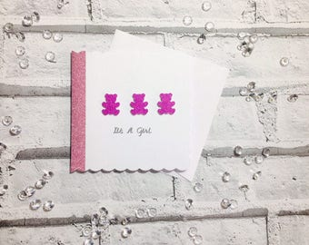 Congratulations Card, New Baby Girl Card, Teddy Bear Card, Baby Shower Gifts, New Mum Card