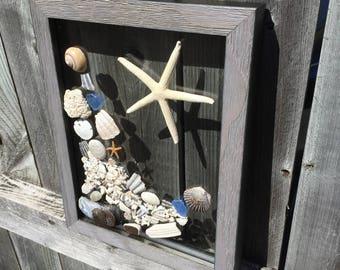 Decorative Seashell Frame, Coastal Decor, Beach Decor Coastal, Shell Art Wall Hanging, Home Decor, Seashell Wall Decor