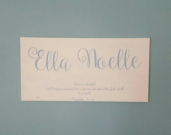 Nursery Name Sign - Customized - Child's Name - Bible Verse - Proverbs 31:30 (Framed Optional) - Christian - Baby Shower - Child Room