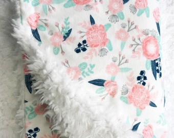 Baby Blanket - Minky Baby Blanket - Boho Baby Blanket - Floral Baby Blanket- Faux Fur Baby Blanket - Feather - Pink - Coral - Mint - Navy -