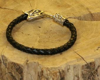 Men's Leather Bracelet / Leather Bracelet / Braided Leather Bracelet / Dragon Bracelet / Black Leather Braided Bracelet / Handmade Bracelet
