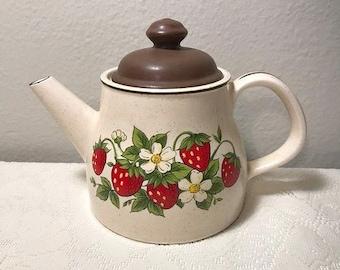 Vintage Strawberry Tea Pot Decorative Country Shabby Chic White Floral Boho Hippie Farmhouse Tea Kettle