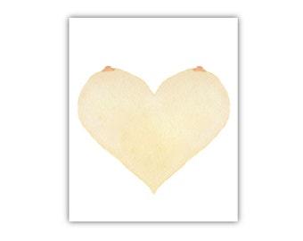 Dirty Valentine's Day Love Card - Titty Heart - Boyfriend, Girlfriend, Husband, Wife - Humor, Funny, Anniversary Card